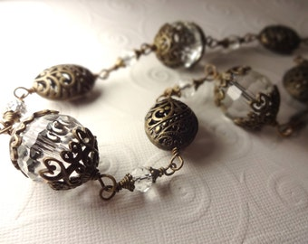 Large Chunky Clear and Antique Brass Ornate Necklace