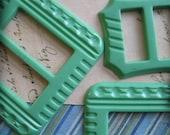 Vintage Jadite Green Art Deco Buckles...1930...new old stock...lot of 5