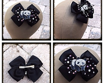 Swarovski Crystal Panda Bow Clip