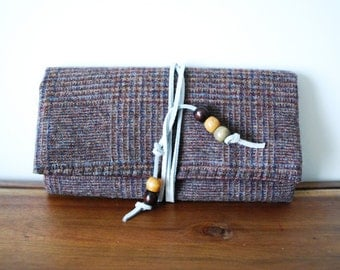 Upcycled Brown and Maroon Plaid Wool Trifold Clutch Wallet with White Leather Tie