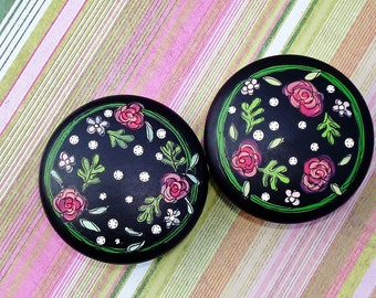 Drawer Knobs Hand Painted 2 inch Wooden Circular Pulls