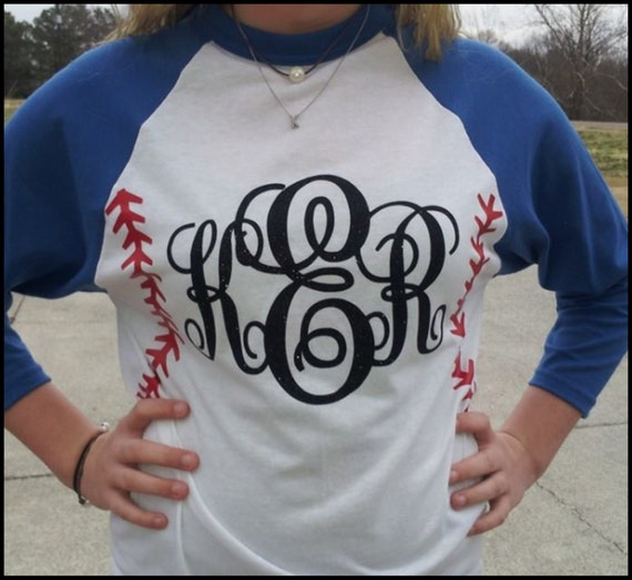 Items similar to monogrammed baseball mom raglan tee for Custom raglan baseball shirt