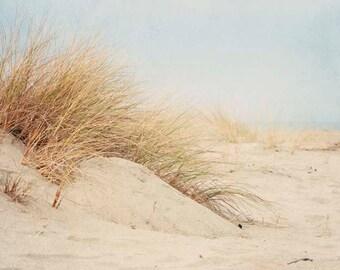 "Coastal Wall Art, Pale Beach Photography, Seagrass, Sand Dunes, California Beach, Blue Coastal Decor ""Soothing Beach Days"""