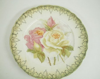 Old Shabby Rose Plate - Tea Party Serving Plate