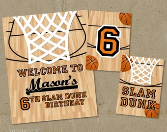 Basketball Birthday Party Signs Decorations - Printable DIY
