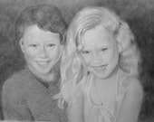 Custom Portrait From Your Photo - 16x20 Personalized Family Child Children Wedding Pencil Sketch Art Original Drawing From Picture
