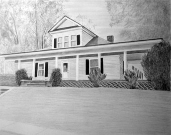 Custom Home Drawing From Your Photo - 5x7 Original Pencil House Landscape Art From Your Picture