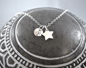 SILVER star name necklace initial necklace star pendant delicate necklace dainty layering necklace everyday jewelry solid sterling silver