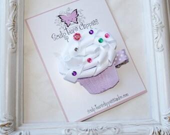 Purple Cupcake Bow. Lavender Sprinkles Ribbon Sculpture Bow. Free Ship Promo.