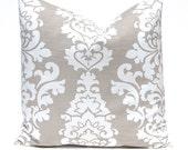 Decorative Pillow Cover, Taupe Pillow Cover, Damask Pillow, Tan Pillow Covers, OneThrow Pillow Cover, Premier Prints Ecru Damask Pillow