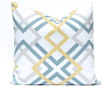 Decorative Pillow Covers - Gold and Gray Pillow Shams - Throw Pillow Covers - Large Check Print on White - Gold Cushion Covers