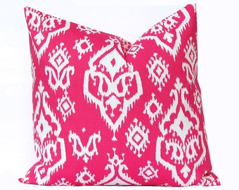 Hot Pink Pillow Cover - Pink Ikat Pillow - Hot Pink and White Pillow Cover - Decorative Throw Pillow Covers - Pink Cushion Covers