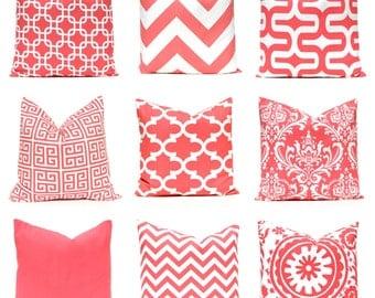 Coral Euro Shams - Coral Pillow Covers - Decorative Throw Pillow Covers - 24 x 24 - Coral Sofa Pillow - Coral Chevron Pillow - Coral Cushion