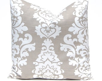 Decorative Pillow Cover - Euro Sham Taupe Pillow Cover, Damask Pillow, Tan Pillow Covers, One Throw Pillow Cover, Premier Prints Ecru