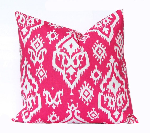 Etsy Pink Throw Pillow : Items similar to Hot Pink Pillow Cover - Pink Ikat Pillow - Hot Pink and White Pillow Cover ...