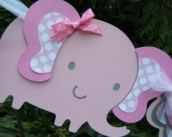 Elephant NAME BANNER in pink, gray and white