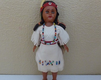 Vintage Native American Indian Doll with Papoose Twins - Collectible