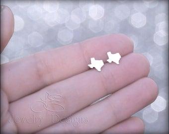 TEXAS EARRINGS - texas stud earrings, sterling texas earrings, native texan, proud Texan, state ring, texas