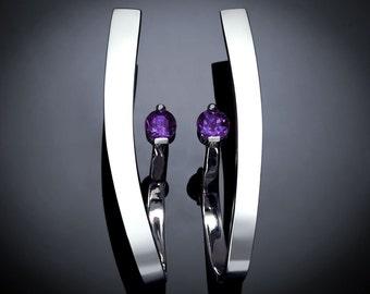 amethyst earrings, statement earrings, February birthstone, silver earrings, Argentium silver, modern jewelry, purple gemstone - 2001