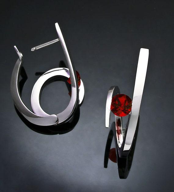 garnet earrings, statement earrings, hoop earrings, January birthstone, Christmas earrings, Argentium silver, red earrings, for her - 2429