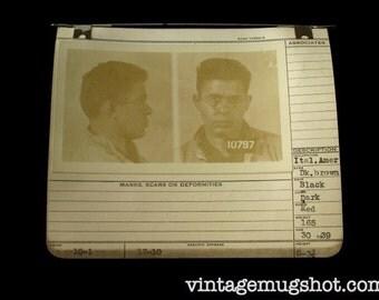 1939 MUG SHOT Allegheney County  Pa Police Italian Man in wire Rim Glasses Criminal Booking Photo