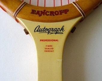 Vintage BANCROFT Autograph Wood Tennis Racquet 4 5/8 Leather Grip Gut