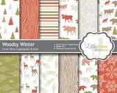 Woodsy Digital Paper, Christmas Scrapbook Paper, Woodland Digital Paper, Woodland Scrapbook Paper, Commercial Use