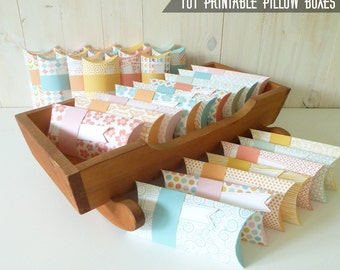 Printable Pillow Boxes, 101 Pillow Box Templates with Built-in Design, PDF Paper Craft, Instant Download