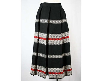 Size 2 Full Skirt - Beautiful Rustic Black Wool XS 50s Pleated Skirt - Made In 1950s Austria - Fall - Winter - Red Detail - Waist 24 - 40620