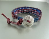 Ethnic Tribal Bracelet, African Red, White, Blue Recycled Handpainted Glass Beads, Red Greek Leather Cord, Ladder Bracelet. Adjustable.