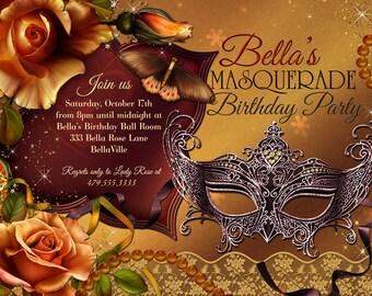 Mardi Gras Party, Masquerade Party, Mask Party Invitations, Masquerade Invitation, Party Invitation