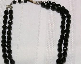 Vintage Austria..Black Crystals..Double strand necklace