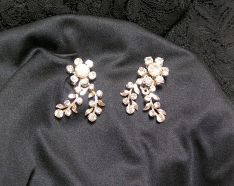 Vintage rhinestone vines.. ear climber.. flower Wedding clip earrings