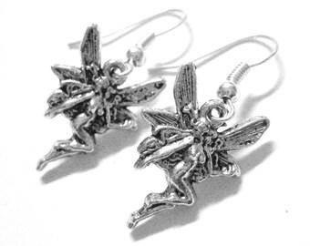 Sterling Silver Fairy Earrings - Pixie Jewelry - Art Nouveau Jewelry - Fairy Gift - Faerie Jewelry - Girls Earrings 054