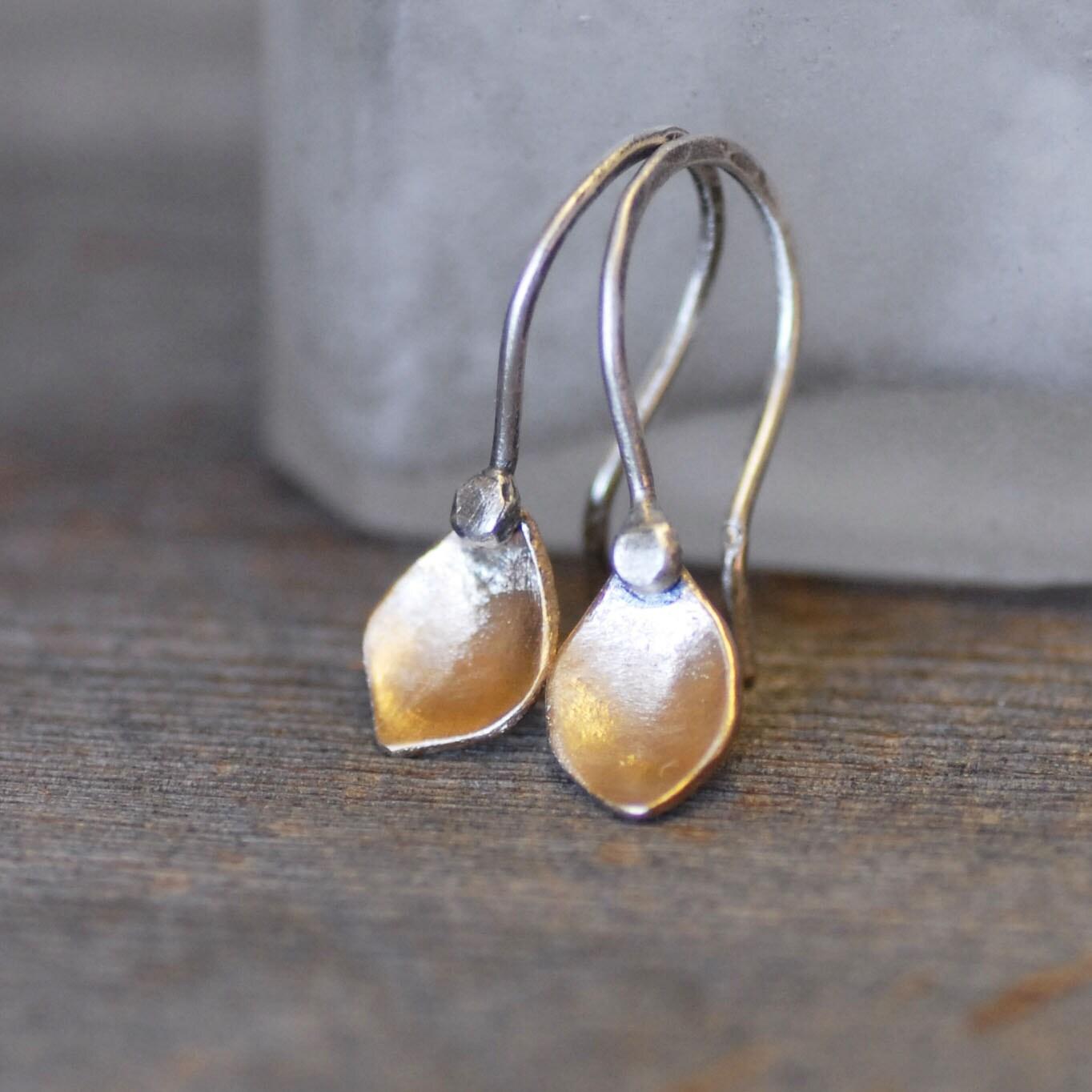 Tiny Gold Petal Earrings Small Dangle Earrings Silver And