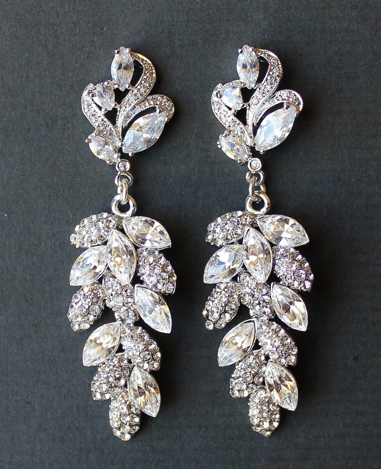 bridal chandelier earrings leaf by jamjewels1