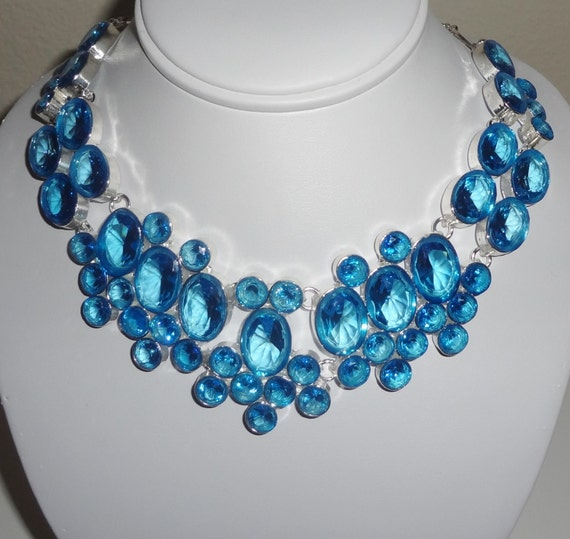 "CLEARANCE, Blue Topaz Quartz stones, SOLID  Sterling Silver Necklace, 25"" adjustable"