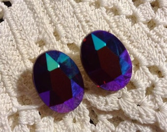 Hot Pink Faceted Earrings with Rainbow Finish
