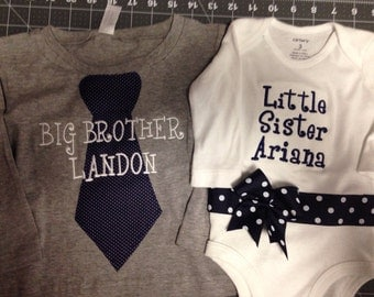Navy And White Dot Big Brother and Sister Matching Set