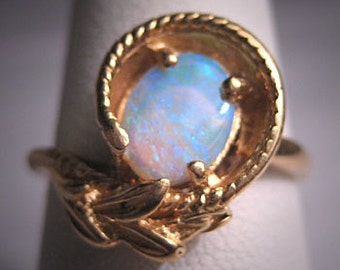 Antique Australian Opal Ring Vintage Retro Art Deco 14K Wedding