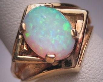 Antique Vintage Australian Opal Ring 14K Gold Wedding Retro Modernist 1950