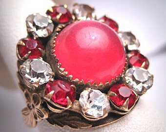 Antique Ruby French Paste Ring Victorian Art Deco Retro