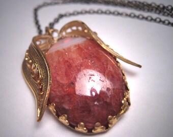 Vintage Agate Quartz Crystal Necklace Antique Filigree