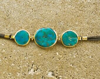 """FABULOUS Natural Turquoise Discs 925 Silver Vermeil Leather BRACELET 8"""" long"""