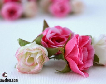 BEST PRICE - 34 Tiny Sweetheart Roses in Shades of PINK - Miniature Artificial Roses