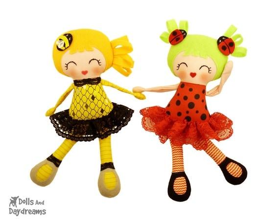 Шмель Божья коровка PDF выкроек Doll - Little Girls ошибка леди Малый Свинг ног Baby Safe Легкое DIY игрушка