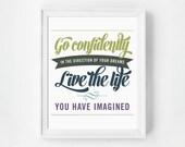 Go Confidently, Motivational Art, Inspirational Print, Quote Print, Typography, Dorm Art, Office Art, Motivational Quote, Green Purple Art