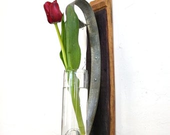 "VESSEL - ""Dossinia"" - Wine Barrel Wall Hanging Flower Holder  - 100% recycled"