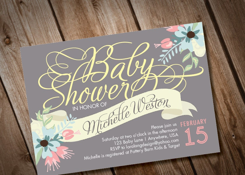 printable digital elegant baby shower invitation