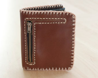 SALE, Brown Leather Wallet with Snap Closure and Zippered Pocket